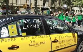 taxi protestando por la app Uber